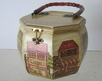 vintage Octogan Shaped Decoupage Box Handbag