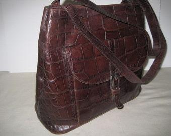 vintage Darkest Brown Moc Croc Leather Tote bag by Harold Powell