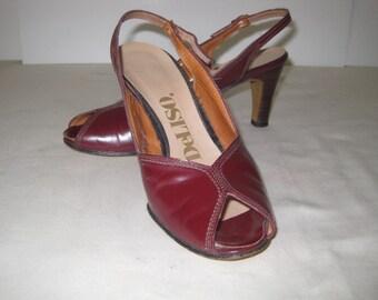 vintage Merlot Leather PeepToe Sling Back Sandal Pumps by DeLiso - size 6 1/2M
