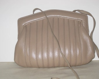 vintage Toasted Taupe Leather Clutch - Cross Body Shoulder Strap Bag by Ande