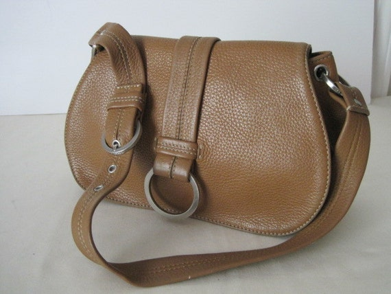 vintage Cole Haan Butterscotch Leather Pouch Tote