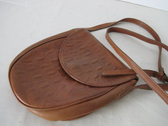 vintage Pebble and Moc Croc Grained Palomino Leather Pouch Bag