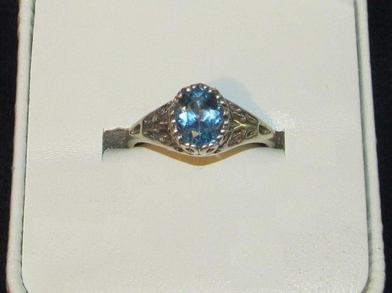 Vintage Estate Jewelry  Solid, Sterling Silver, Blue Topaz Ring