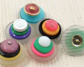 SALE Rainbow Sherbet Vintage Button Push Pin Set