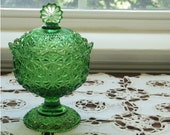 Daisy Button Footed Compote, Early American Pattern Glass