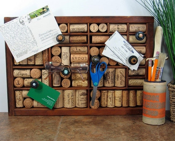 Wine Cork Bulletin Board made from Vintage Printer Drawer