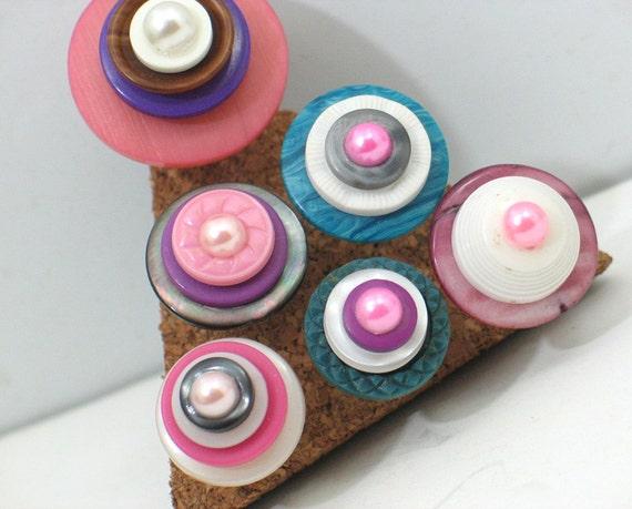 Fancy Vintage Button Push Pin Set