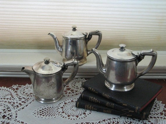 Set of 3 Individual Silver Teapots