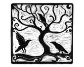 Three Ravens linocut print