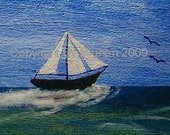 Opening Sale - Summer Sailing -- 5x7 -- Signed Art Card Print - Limited Edition