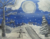 Snowy Winter's Evening Limited Edition Signed Art Card ACEO Print