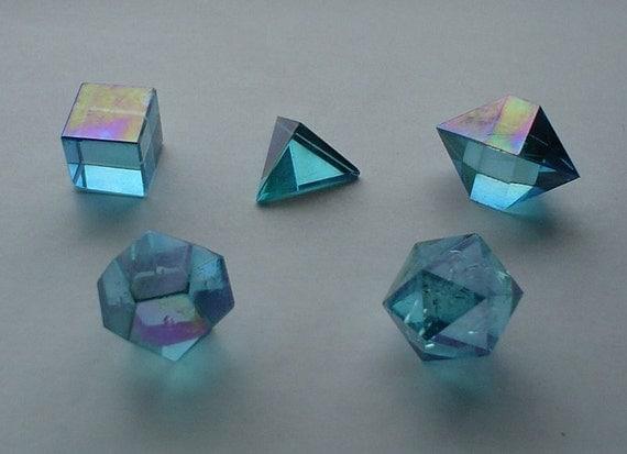 Limited Edition Aqua Aura Quartz Crystal Platonic Solids Set Images Of Solids