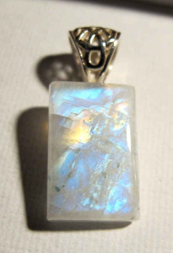 SALE Celtic Rainbow Moonstone AAA Cabochon Sterling Silver Emerald Pendant