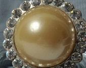 Cocktail ring. Pearl and rhinestones. Repurposed vintage. Adjustable.