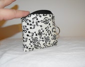 Southern Sweet Ts SMALL ZIPPER POUCH in black and cream music notes cotton print