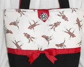 Southern Sweet T's Classic Tote in MODA'S SOCK MONKEY black wool and red trim
