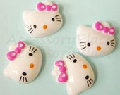 10 pcs..19mm  x  17mm Cute Kitty Cat with Pink Bow for Accessories, Jewelry, card making, Scrapbooking, Stationary(M)