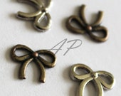 12pcs.. 10mm x 8mm Mini Ribbon Bow Charms in Silver Color and Antique Brass Color