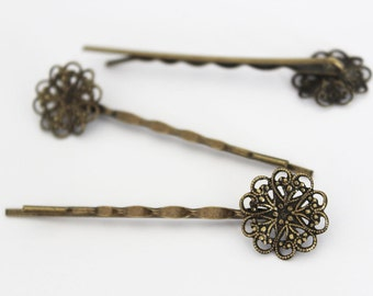 5pc.. 70mm Antique Brass Bobby Pin with 18 mm Flower Filigree(Snap Clip with Pad)