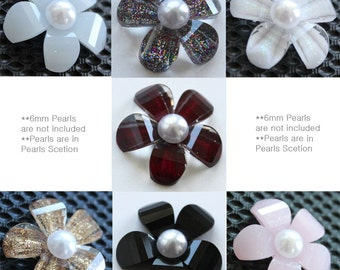 Price Reduced..35 pcs of  21mm(L)X4mm(D) Faceted Daisy Flower Epoxy Flatback Rhinestone in 7 colors