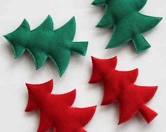 20pcs Padded Christmas Tree Applique in Green and Red for Accessories, Clothing, Jewelry, Doll parts