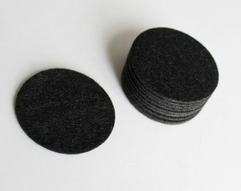 50pcs.. 35mm Felt Backing Circle for Ribbon bow, Cosarge Flower in Black