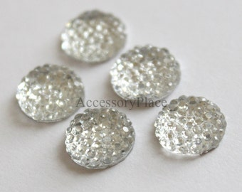 10 pcs of  8mm Faceted Round Cut Flatback Bead for scrapbooking, clothing in Clear Color