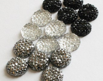 30 pcs of  10mm Faceted Round Cut Flatback Bead  in Clear, Black, Metallic Gray for scrapbooking, clothing, Jewelry, Accessory