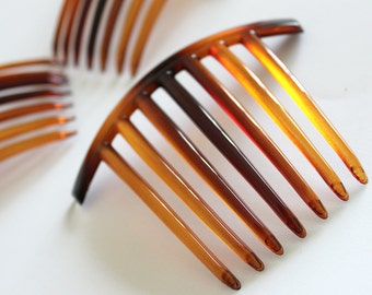 12pcs Brown Plastic Blank Hair Stick  with 7 Teeth in Tortoise Shell