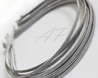 5pcs..3mm Satin Ribbon Wrapped Metal(Steel) Headbands in Silver(Gray)