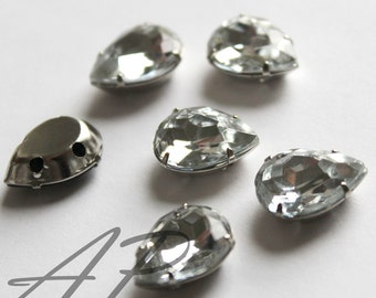 11mm X15mm Faceted Teardrop Sew On Clear Rhinestone W/Metal Prong NO NICKEL Rhodium Plated Over Brass 20pc