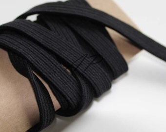 """10mm(3/8"""")..1.8mm(Thickness)..Elastic Cord in Black..For Stationary, Accessories, Jewelry, Stationary 2Yards"""