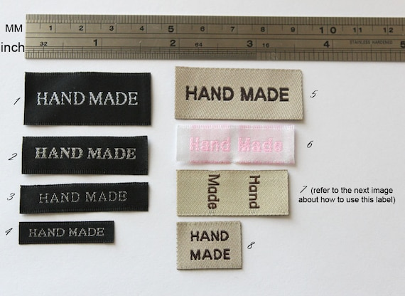U Pick Set of 100 pcs of Hand made Woven Label in Beige, Black  and Pink for Accessories, Jewelry, Clothing
