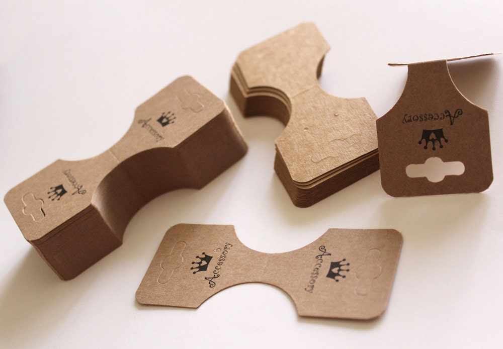100pcs Hanging Necklace Ponytail Imprint Display Card in Brown