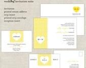 Chevron Wedding Invitations, Yellow Wedding Invitation, Geometrical Wedding Invites, Heart, Modern, Bold, Simple, Minimalist