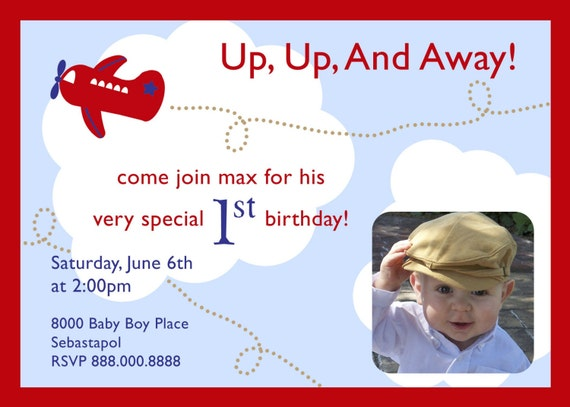 airplane up up and away birthday invitation with photo. Black Bedroom Furniture Sets. Home Design Ideas