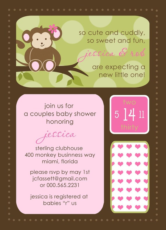 monkey baby shower invitations, modern baby shower invites, pink, Baby shower invitations