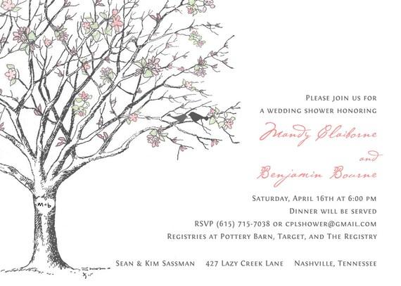 Sakura Cherry Blossom Love Birds Bridal Wedding Shower Invitations