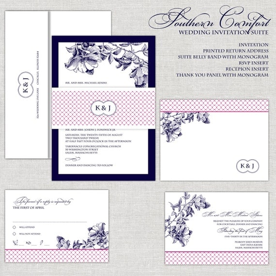 like this item - Navy And Blush Wedding Invitations