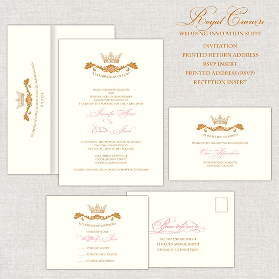 royal wedding invitations gold & pink wedding invitation, Wedding invitations