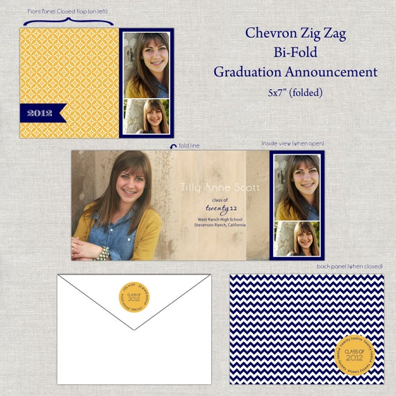 Chevron Zig Zag Graduation Announcement Invitation Open House Folded Bi-Fold with Photos Images