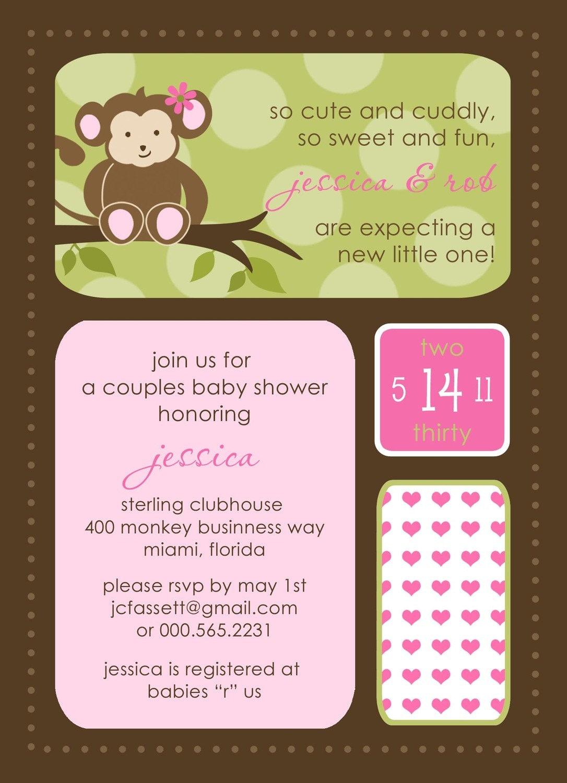 Monkey baby shower invitations modern baby shower invites - Baby shower monkey pictures ...