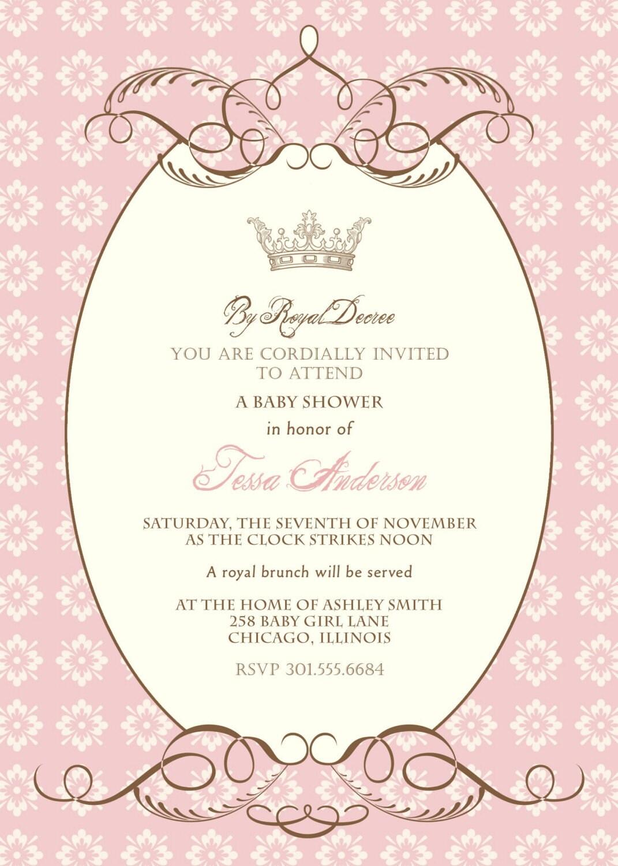 royal decree baby shower invitation