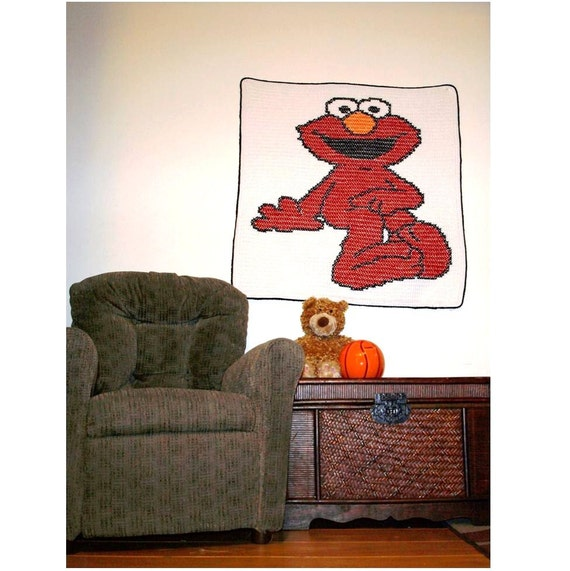 Elmo Blanket hand made in crochet and cross stitch
