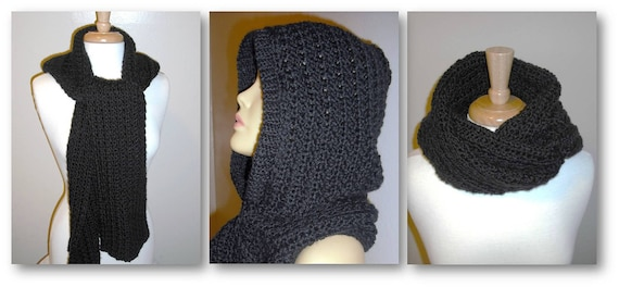 RESERVED FOR MISTY, Hooded Scarf, Crochet Scarf
