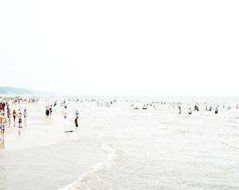 Beach Photography ocean art beach photograph people beach photo beach house modern fine art coastal wall art 16x16