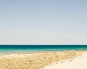 gift under 50 Beach photography beach photograph 5x7 shoreline print lake michigan wall art summer landscape ocean fine art gold turquoise