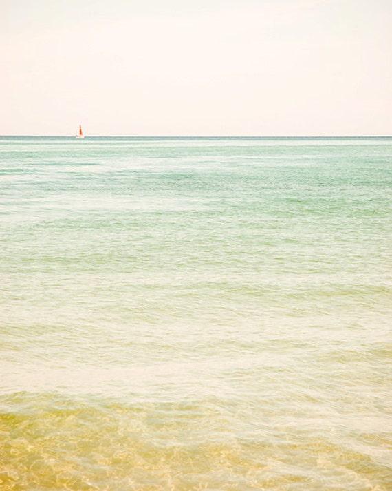 Beach photography beach photograph 8x10 nautical fine art sailboat wall art cottage chic lake michigan cherry red turquoise pastel pink