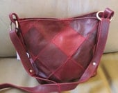 Reserved for Leela -Red Leather Crossbody Patchwork Purse