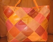 Reseved for Hana Fall Toned Orange Leather Patchwork Purse